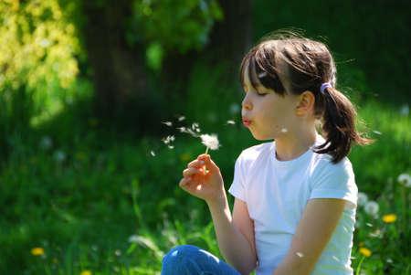 blowing dandelion: Ragazza che soffia dandelion  Archivio Fotografico