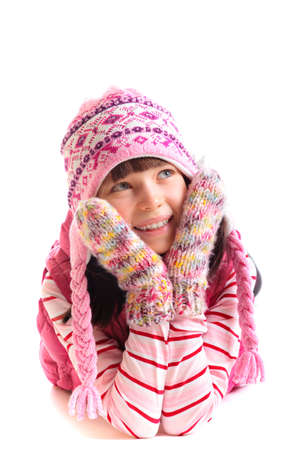 Girl wearing wintry clothing photo