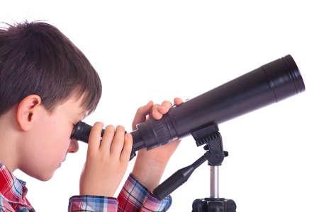 Boy with telescope photo
