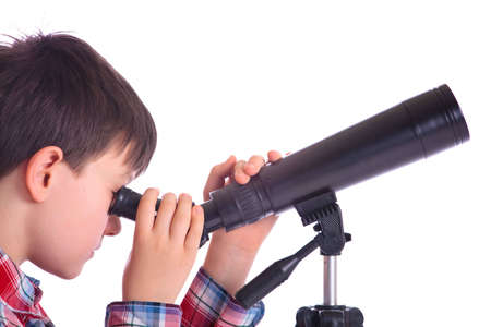eyepiece: Boy with telescope Stock Photo