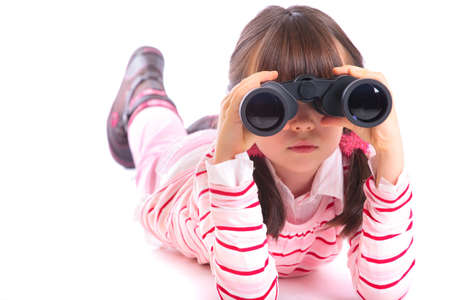 Girl with binoculars photo