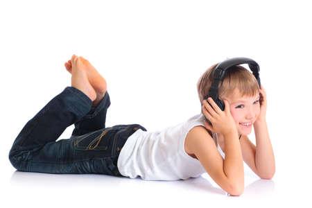Boy listening to music photo