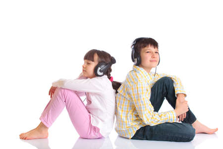 Siblings listening to music photo