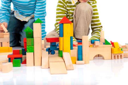 juguetes de madera: Bloques de juguete Foto de archivo