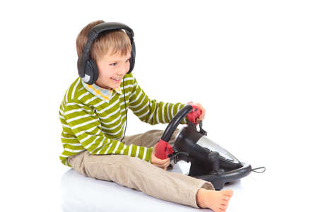 Boy playing video game Stock Photo - 4615303