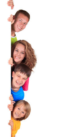 peek:  happy siblings Stock Photo