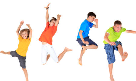 brothers: Happy children jumping  Stock Photo