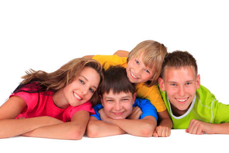 Sister and brothers having fun Stock Photo - 17345233