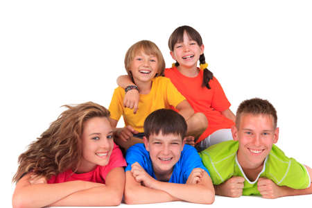 Happy sisters with brothers Stock Photo - 17345231