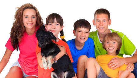Sister ,brothers and dog pet  Stock Photo - 17345226