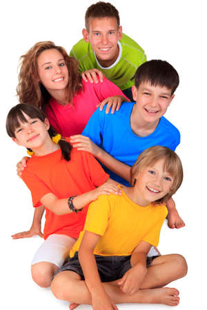 brothers and sisters: Group of happy children  Stock Photo