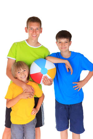 Happy brothers holding ball Stock Photo - 17345224