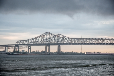 New Orleans brodge scenery with dark clouds photo