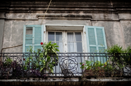 Traditional house with balcony, New Orleans Stock Photo