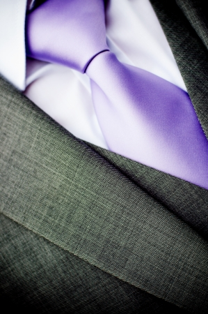 purple wedding tie and white shirt photo