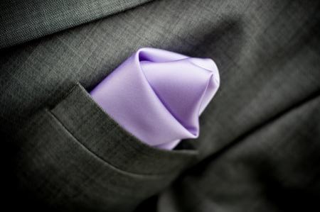purple wedding tie and white shirt Stock Photo