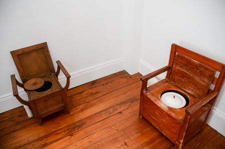 composting: historical wooden dry composting toilets
