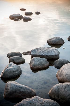 Baltic sea in Estonia with boulders Stock Photo