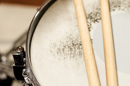 snare: detail of snare drum and sticks
