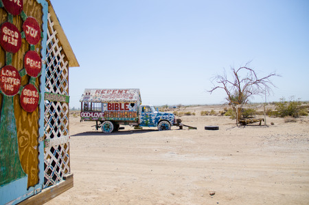 the salvation: Salvation mountain, colorful truck and tree