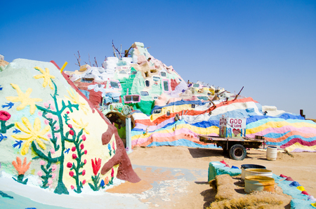 the salvation: Salvation mountain in California, US