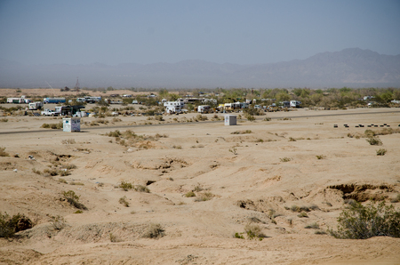 the salvation: View of Slab city next to Salvation mountain, California Stock Photo