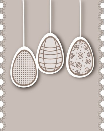 vernal: Easter card with lace - in brown