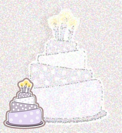 Birthday cake card - pointillism  photo