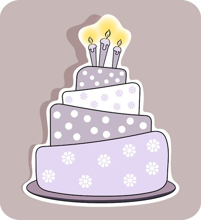 birthday cake with three lit candles - isolated  photo