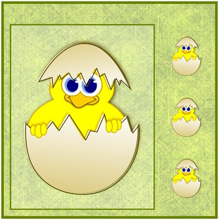 Cute easter chick in eggshell - illustration illustration