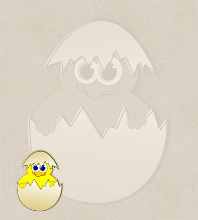 Easter chick in eggshell - watermark illustration  illustration