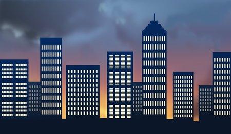 sunup: City skyline at sunset - illustration