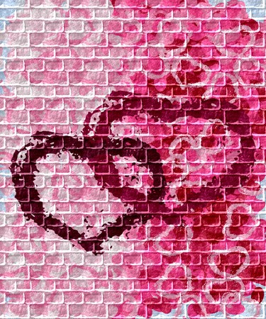 love at first sight: United hearts shape - graffiti on the wall