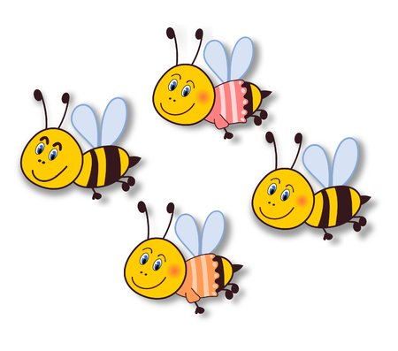 Smiling bee stickers-isolated on white-illustration illustration