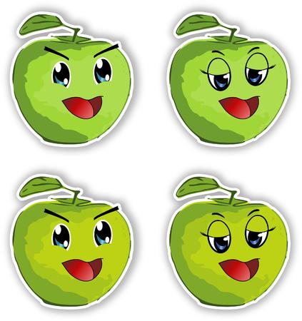 manga style: Smiling manga style apples-sticker, on white background