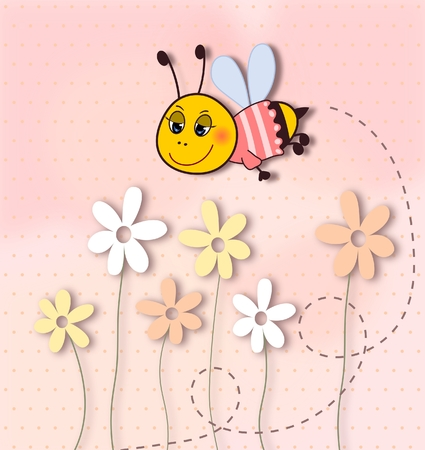 Cute smiling bee with flowers-dots background-illustration  illustration