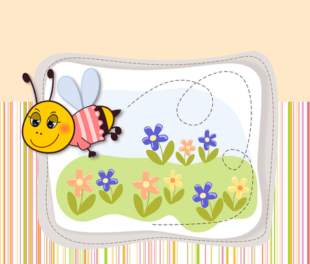 Flying bee and some flowers on the meadow-illustration  illustration