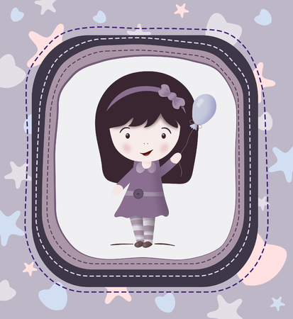 Cute cartoon girl with balloon-card, in violet  photo