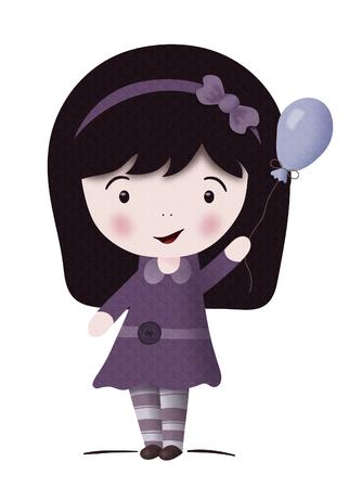 Kawaii girl with balloon-isolated on white photo