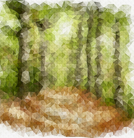 Footpath in a forest drawing in origami style-sketch  photo