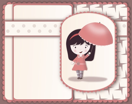 Pretty girl with parasol-layered image-scrapbooking style photo