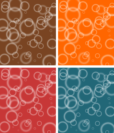 bubbly: Abstract bubbly pattern in brown, red, orange and blue colours-set Stock Photo