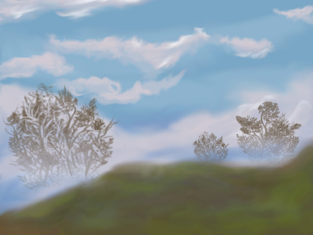 Fantasy landscape with tree and cloudy sky-in the foggy morning photo