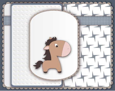 boyish: Cool baby card with pony character-copy space Stock Photo