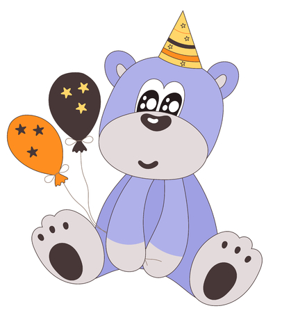 boyish: Happy birthday teddy bear with party hat and balloons-isolated on white