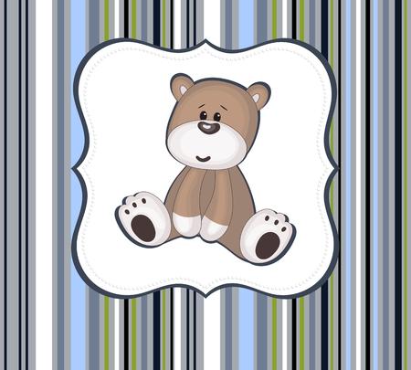 boyish: Cute teddy bear card with label frame on stripey  Illustration