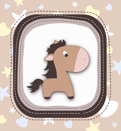 Beautiful pony character in frame-brown spectrum photo