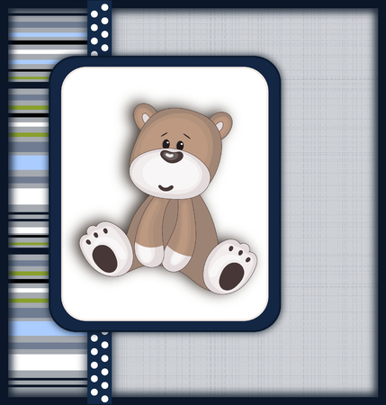 boyish: Beautiful card with Teddy bear-scrapbooking style Stock Photo