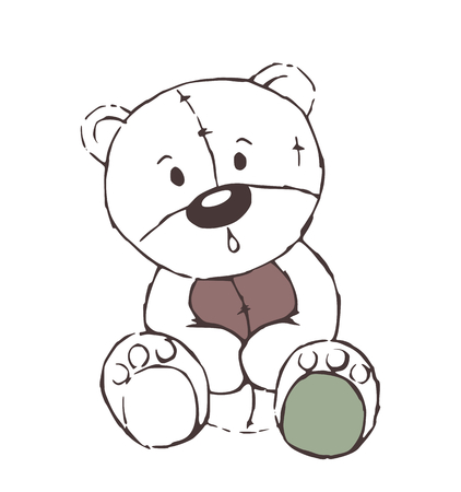 Cute teddy bear toy sketch - isolated on white background Vector