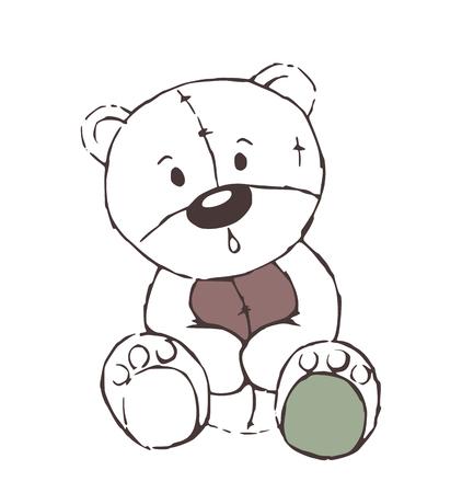 marvel: Cute Teddyb�r Spielzeug sketch - isoliert auf wei�em Hintergrund Illustration